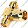 SMA Male to Double RP-SMA Female T Adapter