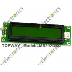 20x2 Green Character Display with Backlight LCD