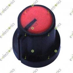 Black Plastic Knob with Pointer-Red Top 6mm Shaft