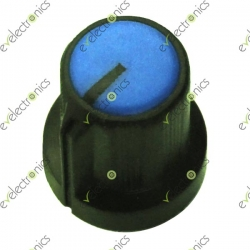 Black Plastic Knob with Pointer-Blue Top