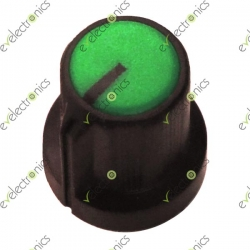 Black Plastic Knob with Pointer-Green Top