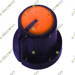 Black Plastic Knob with Pointer-Orange Top