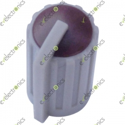 Grey Plastic Knob with Pointer-Maroon Top