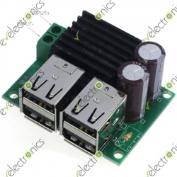 Step-Down Module DC 9-14V to 5V 4USB Power Charger