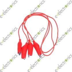 Dual Mini Crocodile Alligator Clips Wire (Red)