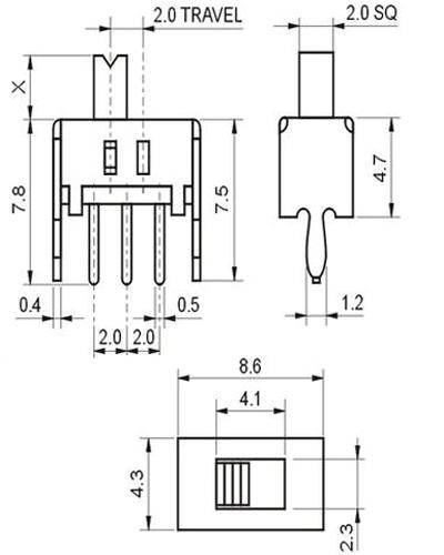 3 pin slide switch  ss